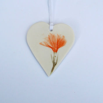 Handmade Porcelain Hanging Decoration With Orange  Flower - House Warming Gift - Easter Gift