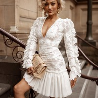 Dollfashion Elegant White Lace Party Dress