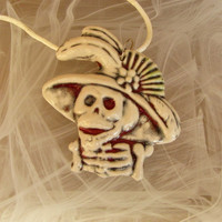 Day of The Dead Blue Red Ceramic Pendant Necklace