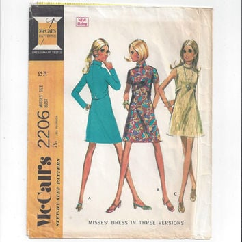 McCall's 2206 Pattern for Misses' Dress in 3 Versions, from 1969, Size 12, Vintage Pattern, Sleeveless, Short or Long Sleeves, Back Zipper
