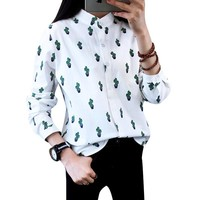 Women Fashion Blouses Long Sleeved Sweet Cute Shirts Cactus Printed Stand Collar Casual Leisure Tops Plus Size Hot Sale Blusas