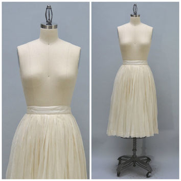50s Silk Chiffon Skirt - Vintage Fifties White Off-white Very Full Silk Midi Skirt Wedding Skirt Circle Skirt Formal
