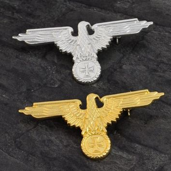 New Fashion Style German Military Eagle Gold Silver Color Brooches Badges Lapel Pin Brooches Cap Cockade Men's Jewelry