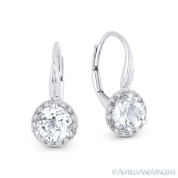 1.67ct Wht Topaz & Diamond 14k White Gold Dangling Drop Leverback Baby Earrings
