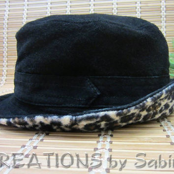 Vintage Black Suede Hat Womens Brushed Leather Fabric with leopard animal print rim by CREATIONSbySabine