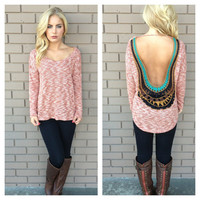 Rust Low Back Embroider Top