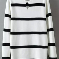 White Black Striped Long Sleeve Knit Sweater