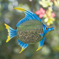 Colorful Sea Life Metal Fish Bird Feeder Hanging Seed Feeder