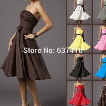 Sexy Strapless Sleeveless Cocktail Dress Formal Party Dress Knee-Length Lace Up Chiffon Vestidos de Festa