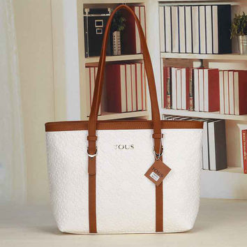 TOUS Women Leather Tote Handbag Shoulder Bag