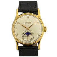 Patek Philippe Yellow Gold Perpetual Calendar Moon Phase Wristwatch Ref 1526