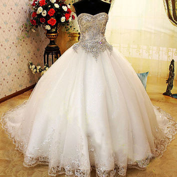 Crystal Wedding Dress, Princes Wedding Dress,Corset Wedding Dress, Embroidery Wedding Dress