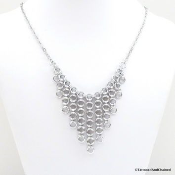 Japanese style chainmaille bib necklace