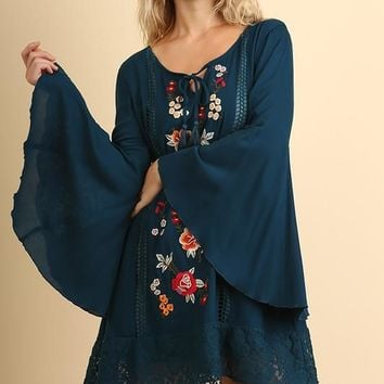 Floral Embroidered Lace Details & Bell Sleeves Dress - Slate