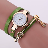 Women Leather Bracelet Watch Gold Case Quartz Watch For Women Wrist Watch New Style Laides Casual Rhinestone WristWatch !XR1297