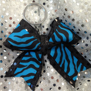 1Turquoise and Black Zebra Bling Keychain Holders Bow Ribbon Cheer Dance