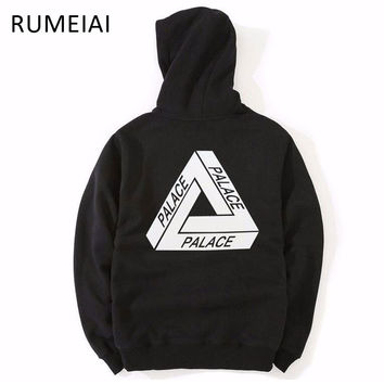 RUMEIAI High Quality 2017 Mens Palace Skateboards Hoodies Male 100% Cotton Triangle Sweat Palace Sweatshirt Palace Hoodies M-XXL