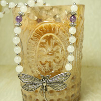 Dragonfly Necklace - White Agate & Amethyst - New Beginnings, Transformation, Growth, Butterfly, Wings, Insect Jewelry,