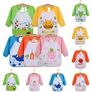 Baby Toddler Waterproof Long Sleeve Children Kids Cartoon Feeding Art Smock Bib Apron