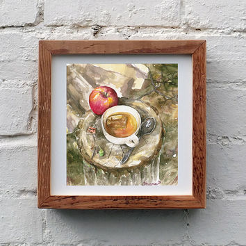 Still life Apple & Cup of Tea - Watercolor painting,   High quality Print, Kitchen Wall decor