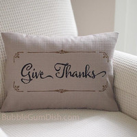 Zulily featured Give Thanks Thanksgiving Decor Pillow Cover Embroidered Saying 12 x 16