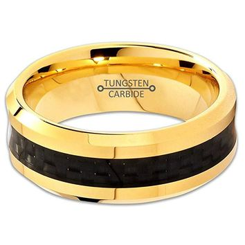 18K Yellow Gold Tungsten Wedding Ring Comfort Fit and Bevel Edges Polished With Black Carbon Fiber - 8mm
