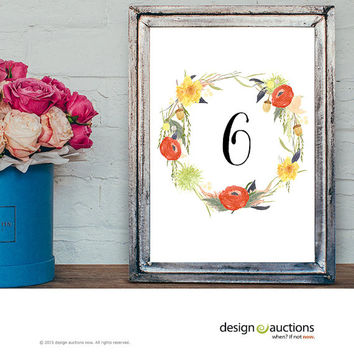 wedding table numbers 1-20 instant download watercolor floral wreath design wedding party signage printable signs floral printable signage