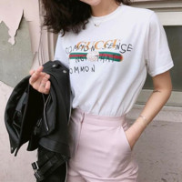 """GUCCI"" Fashion Casual Personality Graffiti Letter Print Loose Short Sleeve Women Shirt Top Tee"