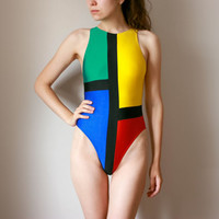 Vintage Colorblock Swimsuit / 1990's Primary Colours OnePiece High Cut Swimming Suit / Multicolour Water Sport, Size SMALL, XS, UK6-8