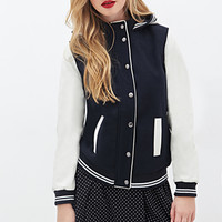 FOREVER 21 Hooded Varsity Jacket Dark Navy/Cream