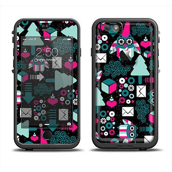 The Pink & Teal Owl Collaged Vector Shapes Apple iPhone 6 LifeProof Fre Case Skin Set