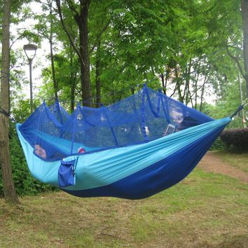 260x130cm Outdoor Portable Foldable Hammock Parachute Waterproof  Camping Mosquito Hammock Parachute Bed with Mosquito Nets