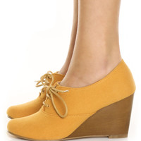 Chelsea Crew Sari Mustard Canvas Summer Oxford Wedges - $65.00 : Fashion Wedges at LuLus.com