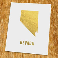 "Nevada Gold Map Print (Unframed), Gold Foil Print, Gold Foil Art, 8x10"", TE-028G"