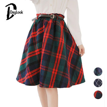 Daylook Autumn Style Scottish Plaid Skirt Women Warm Elastic Hight Waist Skater Pleated Skirt Knee Length Casual Chic 3 Colors