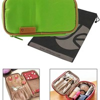 """JAVOedge Gray *LARGER SIZE* (8"""" L x 4.5"""" H x 3.5"""" W) Double-Sided Cosmetic Toiletry / Jewelry Travel Organizer Bag"""