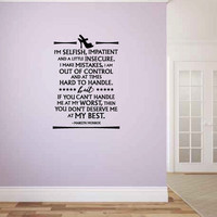 Marilyn Monroe Quote Vinyl Wall Words Decal Sticker Graphic