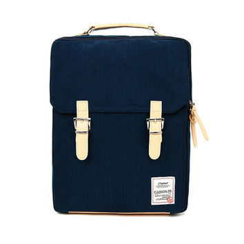 Cotton Square Backpack (Navy)