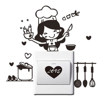 Kitchen Light Switch Sticker Cute Cook Vinyl Cute cartoon print removable self-adhesive Wall Decal Kids Room Bedroom Home Decor