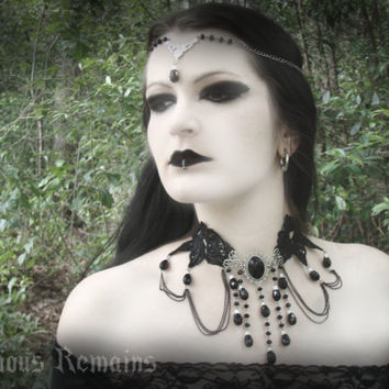 "Black Gothic Necklace ""Bella Morte"" Beaded Choker Black Rose Elegant Necklace"
