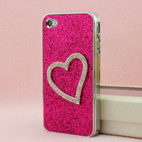 Bestgoods — Shiny Heart-shaped Relief Frosted Hard Cover Case for Iphone 4/4s/5