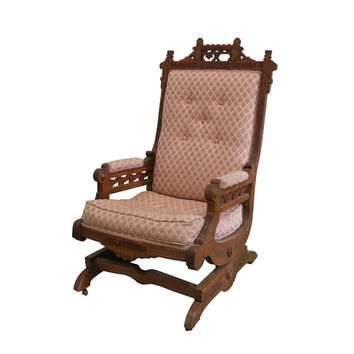 1880s Slide Rocking Chair, Pink Baby Nursery Decor, Victorian Furniture