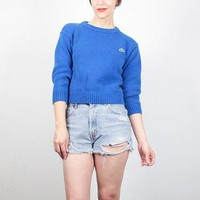 Vintage 80s Sweater Blue Cotton LACOSTE Sweater Shrunken Pullover Preppy Sweater 1980s