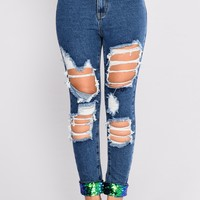Put You On Game Sequin Jeans - Medium Blue Wash