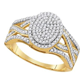10kt Yellow Gold Womens Round Diamond Oval Cluster Twist Ring 1-2 Cttw