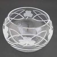 Hand cut lead crystal bowl, Shamrock celtic st Patrick day  gift