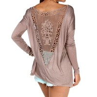 Taupe Crochet Back Top