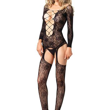 Leg Avenue Female Seamless Floral Lace Long Sleeve Suspender Bodystocking 89133
