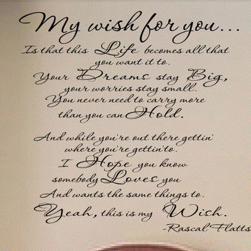 My Wish Rascal Flatts Vinyl Wall Art