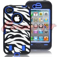[Powerfit] Armored Core Zebra Print Case White/Black with Blue Shell for Iphone 4 4S 4G - Comparable to otterbox